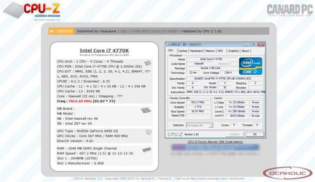Overclock extremo: Intel Core i7 4770K a 7 GHz