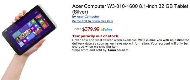Amazon lista el Acer W3 confirmando los tablets Windows 8 baratos 31