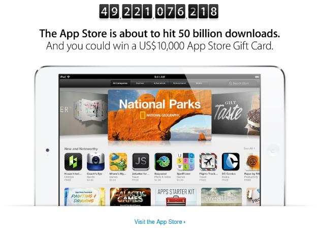 Apple prepara jugoso premio para quien descargue la app 50.000.000.000