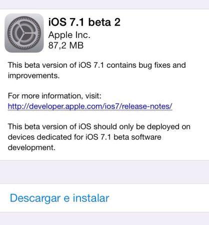 Apple libera la segunda beta de la actualización iOS 7.1