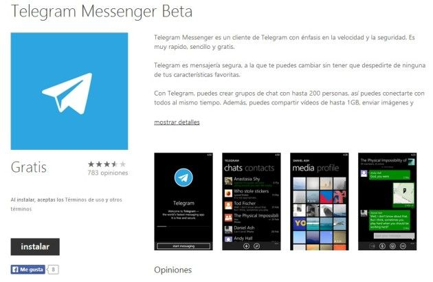 Telegram ya está disponible para Windows Phone
