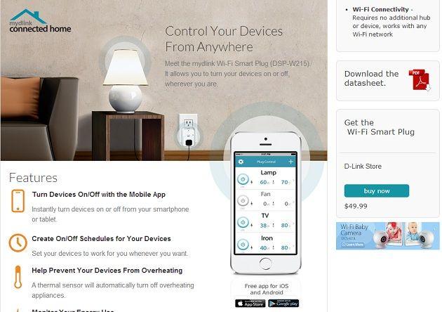 Wi-Fi Smart Plug de D-Link