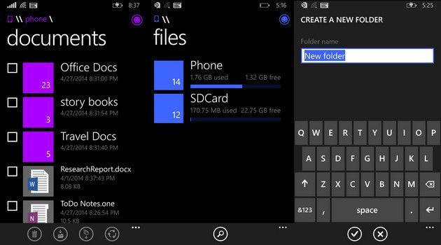 gestor de archivos de Windows Phone