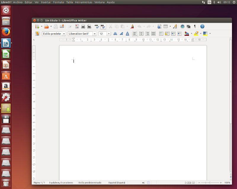 LibreOffice con menú en panel de Unity