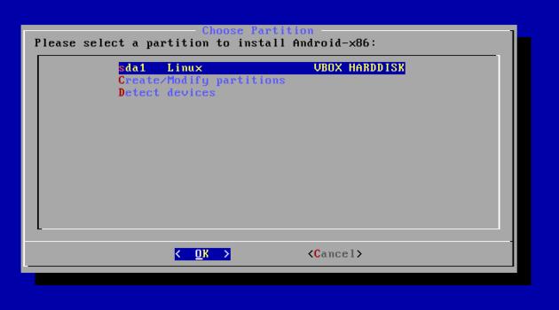 Seleccionar particición para formatear en Android x86