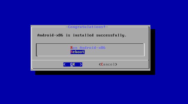Reiniciar tras la instalación de Android x86