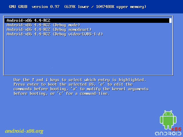 Arranque de Grub en Android x86