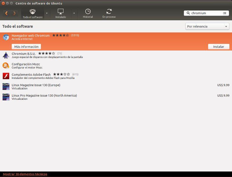 Búsqueda en el Centro de Software de Ubuntu