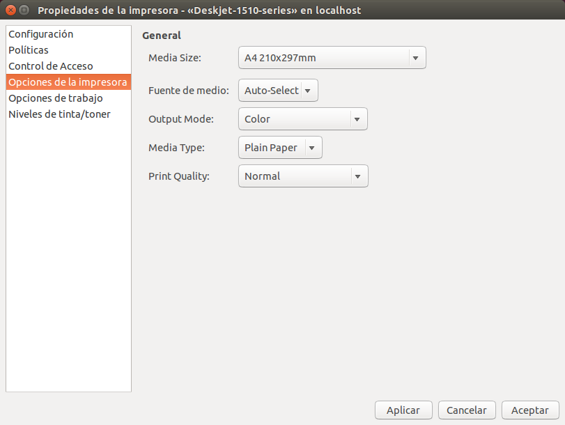 Opciones de la impresora en Ubuntu