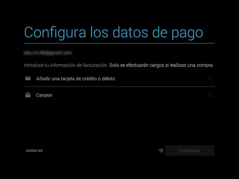 Configuración de los datos de pago en Android x86