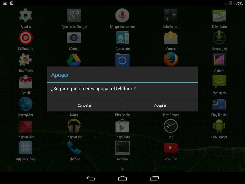 Confirmación apagado Android