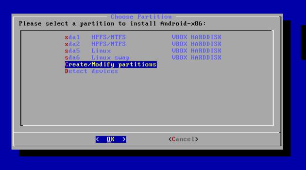 Eliminar particiones de un disco en Android x86