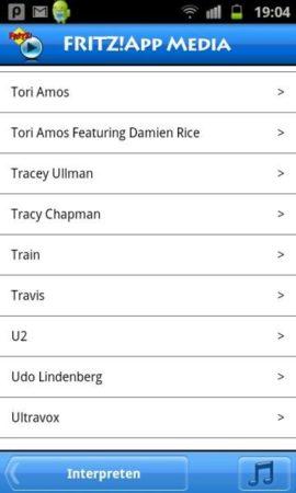 FritzMedia-App-Interpretenliste