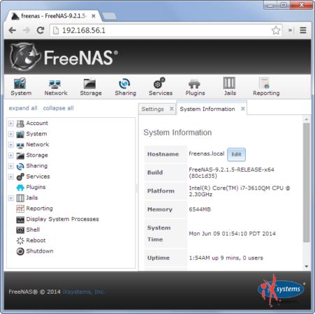freenas-web-interface