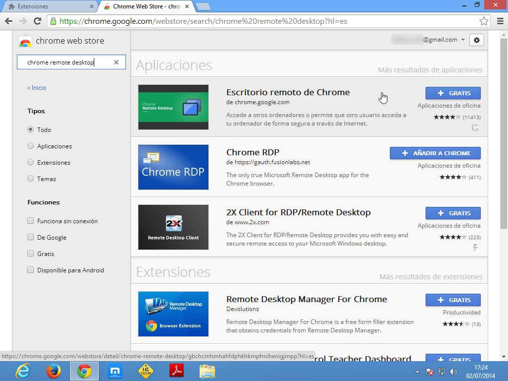 Seleccionar Chrome Remote Desktop en la Chrome Store