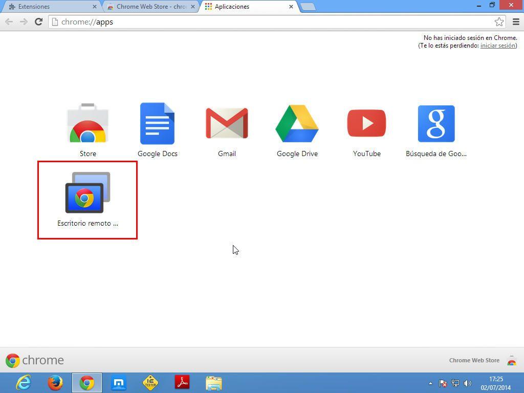 Chrome Remote Desktop en las aplicaciones de Chrome