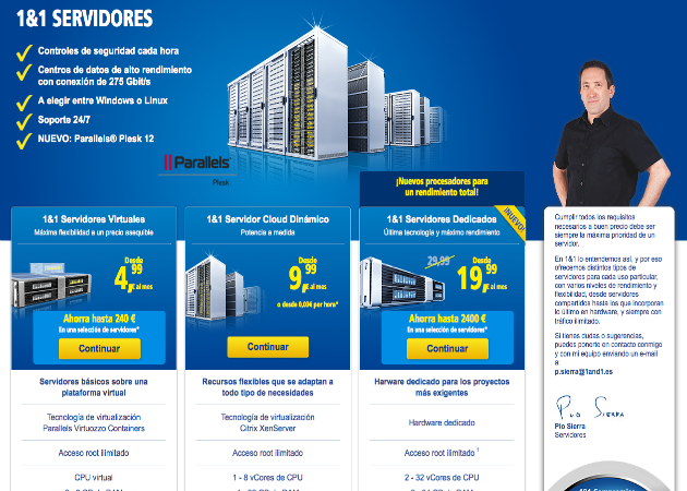 Cómo crear una web con 1&1 Mi Web (III): Modelos de servidores