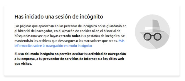 Nueva ventana de incógnito de Google Chrome