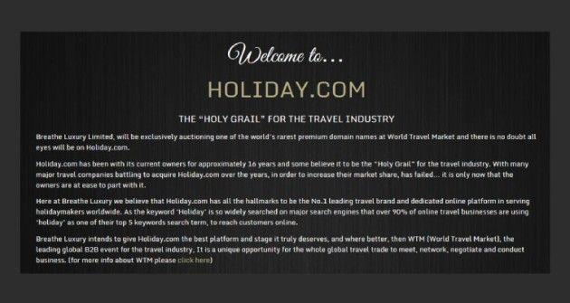 El dominio Holiday.com