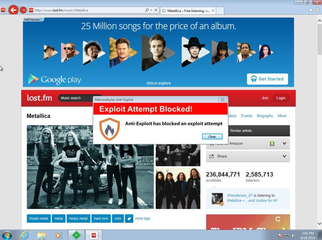 Malware a través de la publicidad en LastFM