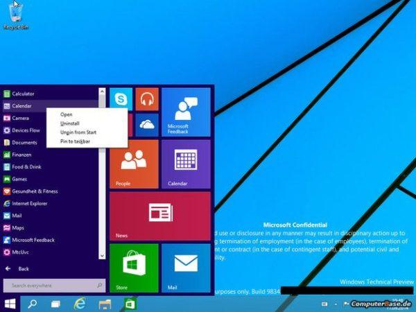 Technical Preview de Windows 9