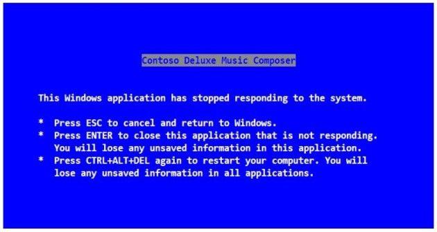 texto del pantallazo azul