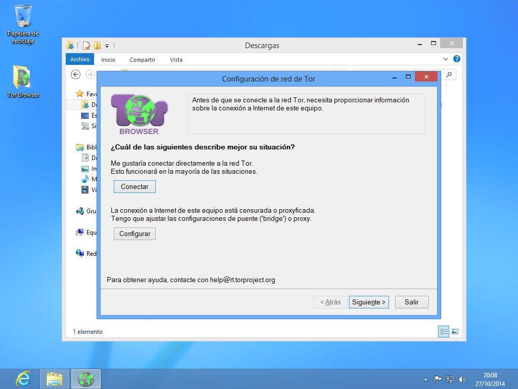 Primer inicio de Tor Browser