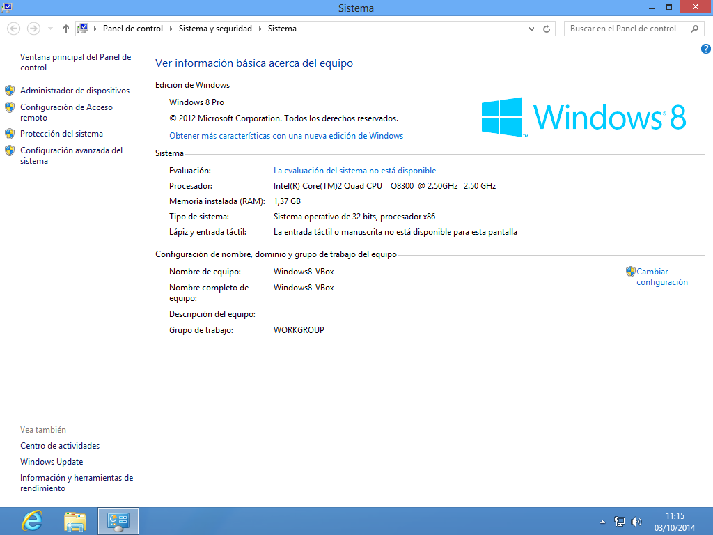 Administrador de dispositivos en Windows 8