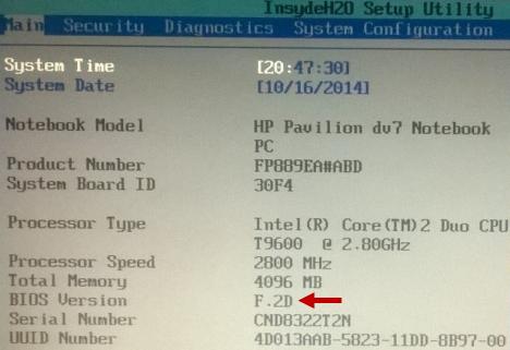 versión de BIOS