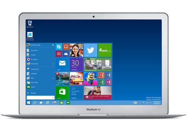 Windows 10 instalado en un MacBook Air