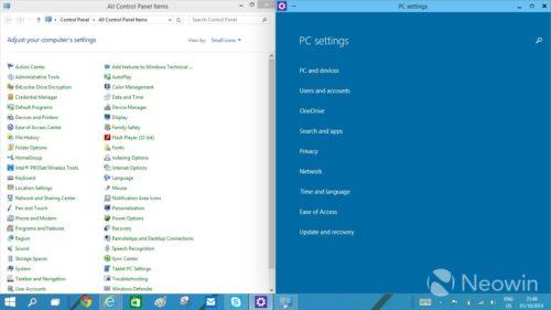 Nuevo panel de control en la siguiente build de Windows 10
