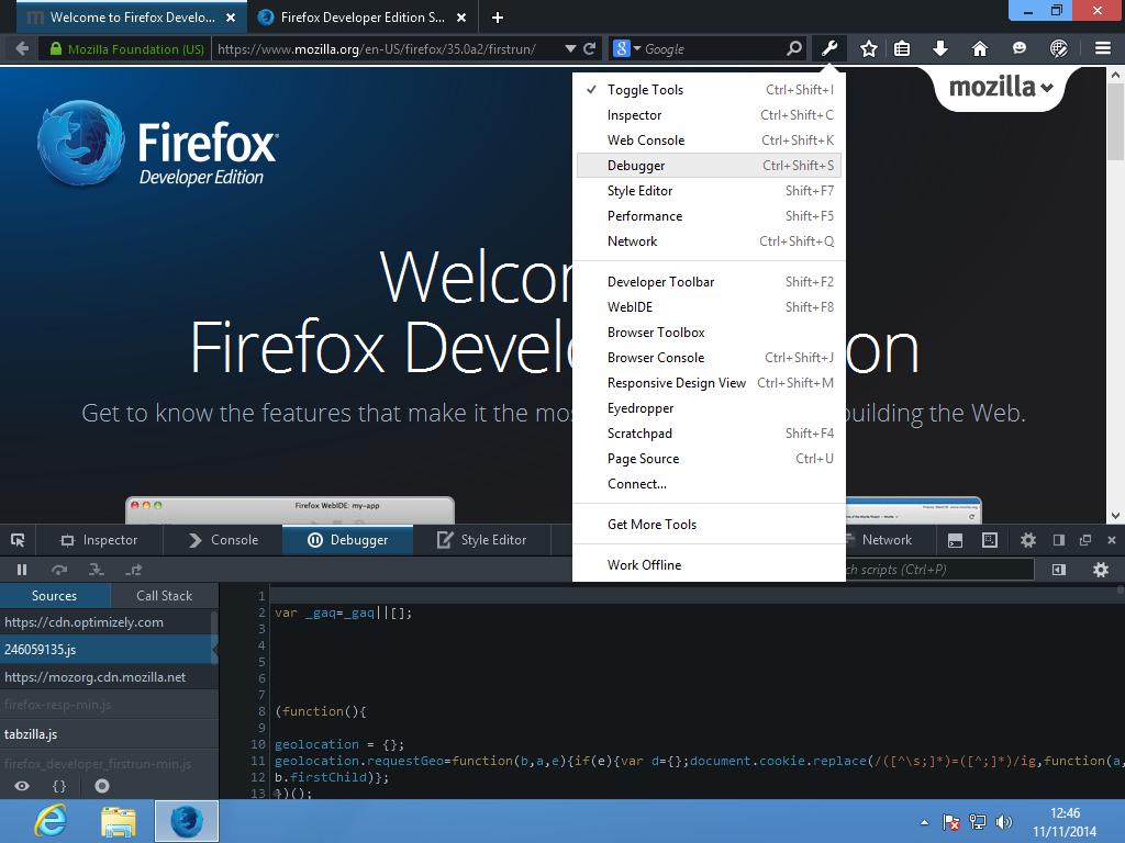 0Herramientas de depuración de de Firefox Developer Edition