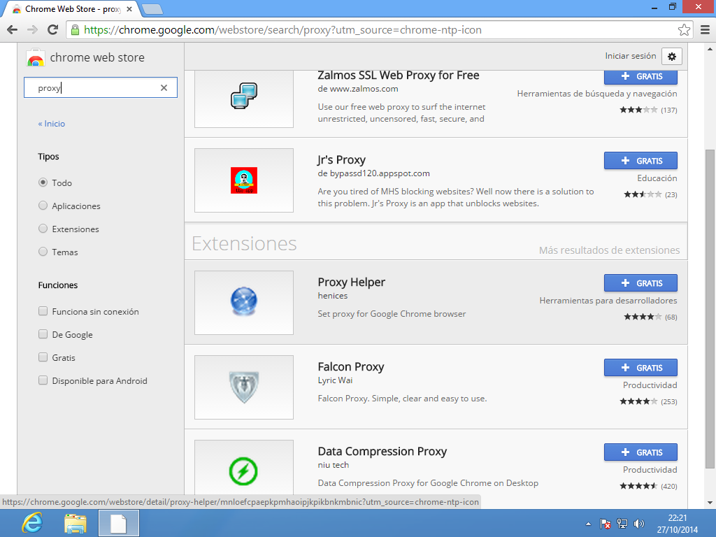 Instalar Proxy Helper en Google Chrome