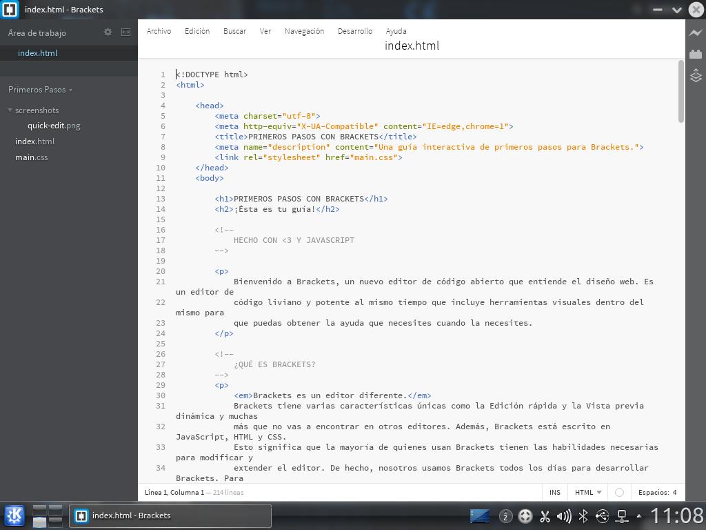 Brackets recién iniciado en Kubuntu