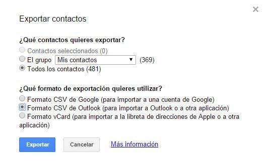 Cómo importar/exportar contactos Outlook y Gmail