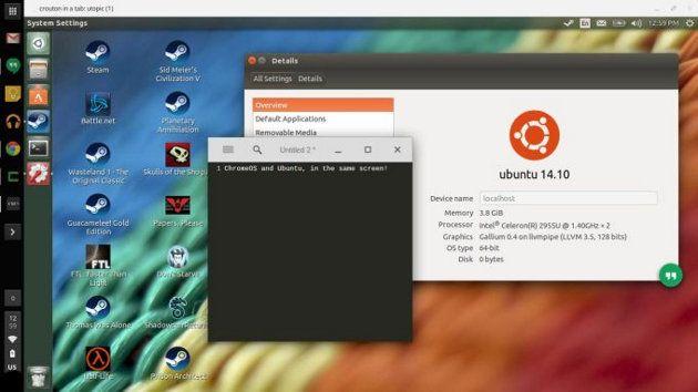 Crouton permite ejecutar Ubuntu en una pestaña de un navegador en un Chromebook