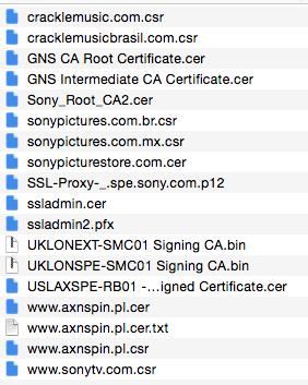 Imagen de parte de la lista de los certificados digitales de Sony Pictures que han sido filtrados