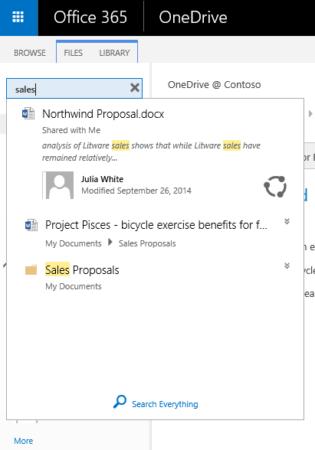 Búsqueda instantánea en OneDrive