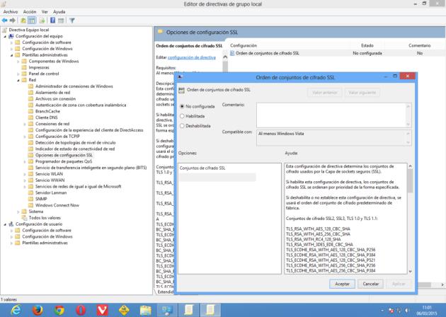 Cómo cambiar Conjunto de cifrado SSL en Edita directivas de grupo