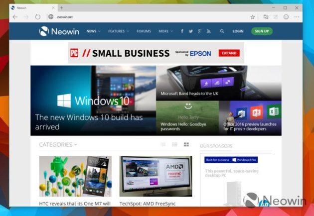 build de Windows 10 con Spartan