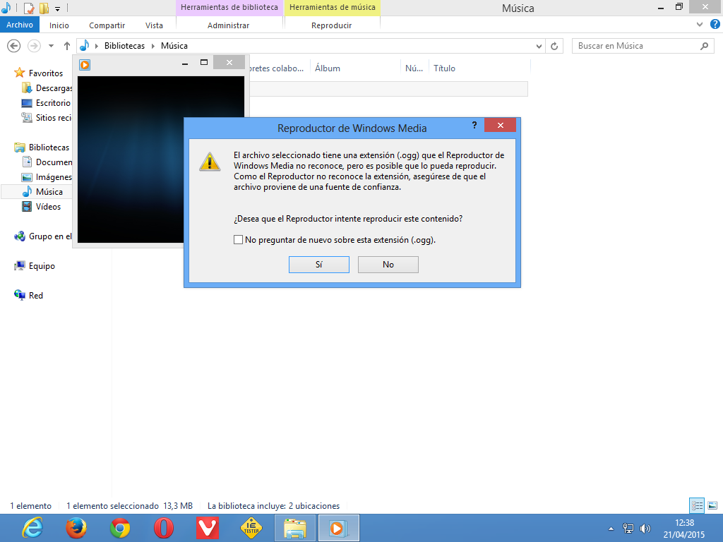 Intentando reproducir OGG sobre Windows 8