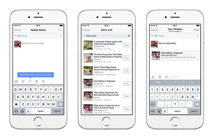 Como Facebook para iOS permite buscar y compartir enlaces