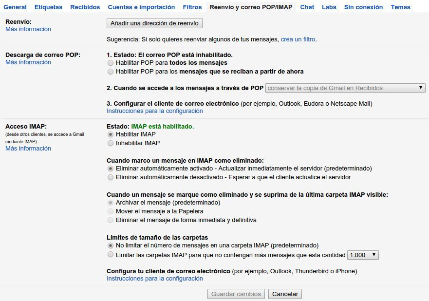 Configurar IMAP y POP 3 en Gmail