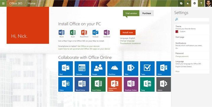 Nuevo panel de configuración de Office 365