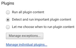 Posibilidades para bloquear o no contenidos Flash en una web. por parte de Google Chrome