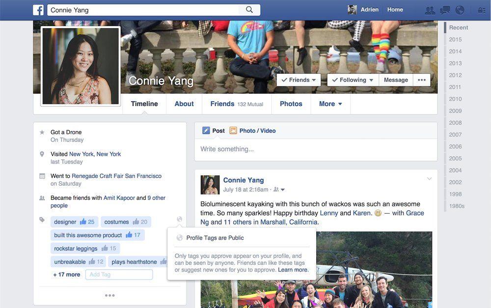 Facebook está probando etiquetas para las páginas de perfil