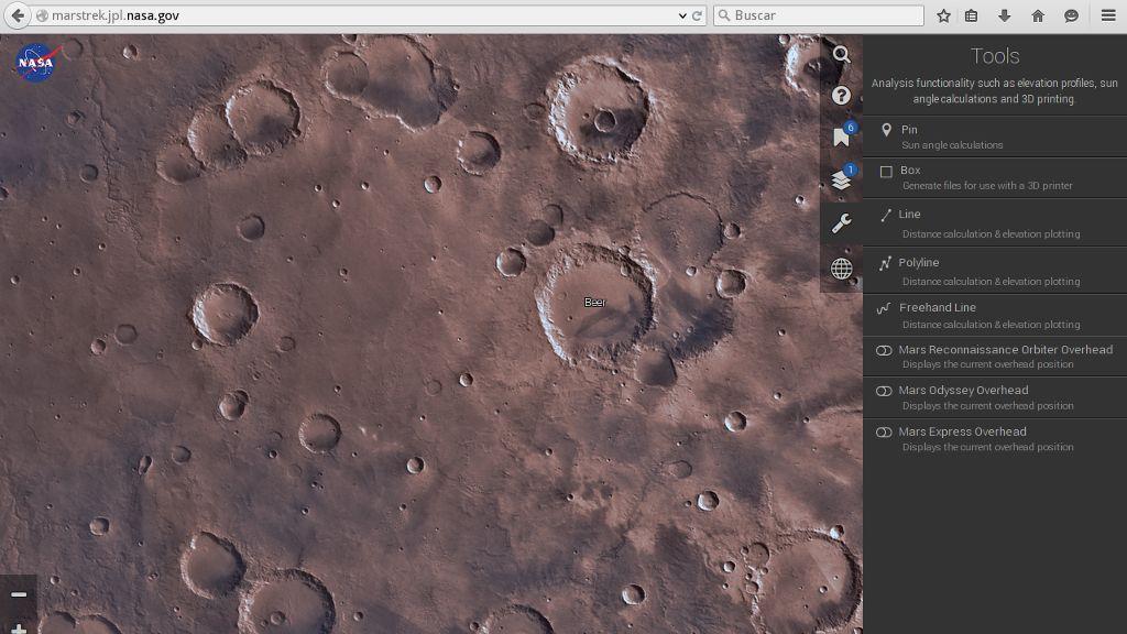La NASA lanza una aplicación para explorar Marte