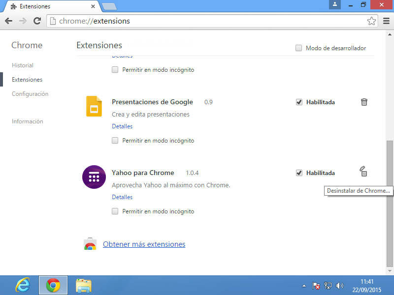 04 Desintalar extension Chrome