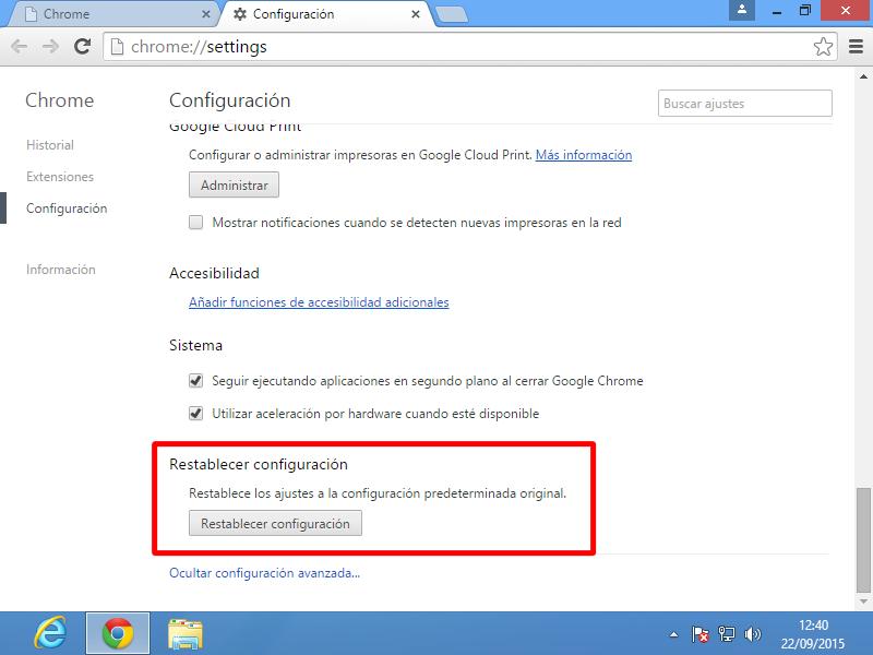 05 Restablecer configuración en Google Chrome