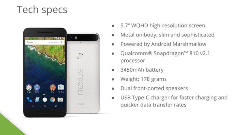 Se filtran las características del Google Nexus 6P
